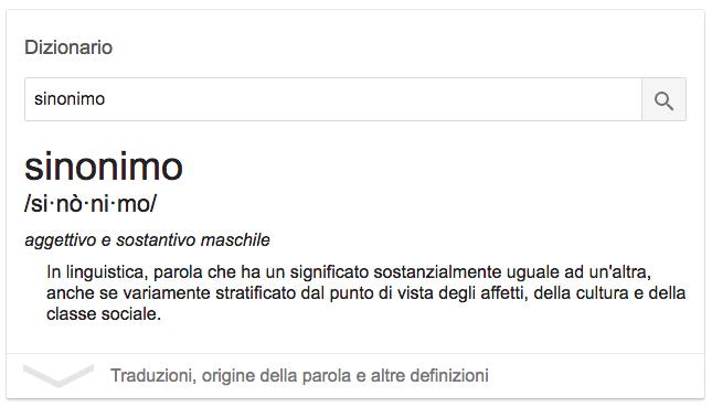 Definizione di sinonimo