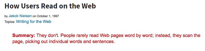 La Value Proposition è utile perché gli utenti leggono blocchi di testo